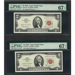 Lot of (2) Consecutive 1963 $2 Legal Tender Notes PMG Superb Gem Uncirculated 67