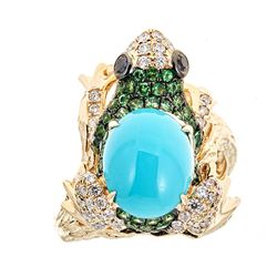 2.82 ctw Turquoise, Tsavorite and Diamond Ring - 14KT Yellow Ring