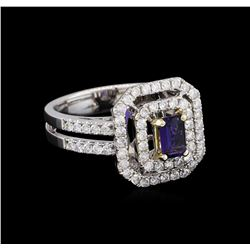 14KT White and Yellow Gold 0.40 ctw Tanzanite and Diamond Ring