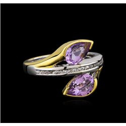 Crayola 2.20 ctw Pink Amethyst and White Sapphire Ring - .925 Silver