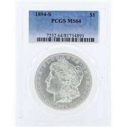 1894-S $1 Morgan Silver Dollar Coin PCGS MS64