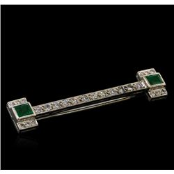 0.56 ctw Emerald and Diamond Pin - 10KT White Gold