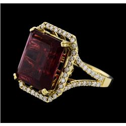 12.34 ctw Rubellite and Diamond Ring - 14KT Yellow Gold