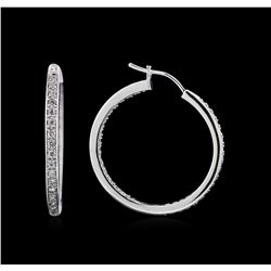 0.58 ctw Diamond Hoop Earrings - 18KT White Gold