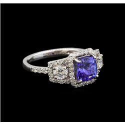18KT White Gold 1.41 ctw Tanzanite and Diamond Ring