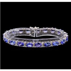 14KT White Gold 14.82 ctw Tanzanite and Diamond Bracelet
