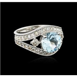 14KT White Gold 2.18 ctw Topaz and Diamond Ring