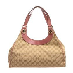 Gucci Beige Brown Monogram Canvas Pink Leather Trim Shoulder Handbag