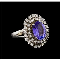 14KT White Gold 4.34 ctw Tanzanite and Diamond Ring