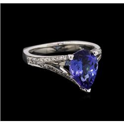 2.32 ctw Tanzanite and Diamond Ring - 14KT White Gold