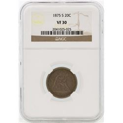 1875-S Seated Liberty Twenty Cent Piece Coin NGC VF30