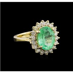 2.85 ctw Emerald and Diamond Ring - 14KT Yellow Gold