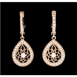 0.60 ctw Diamond Earrings - 14KT Rose Gold