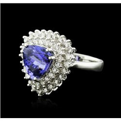 14KT White Gold 4.94 ctw Tanzanite and Diamond Ring