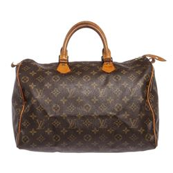 Louis Vuitton Monogram Canvas Leather Speedy 35 cm Bag