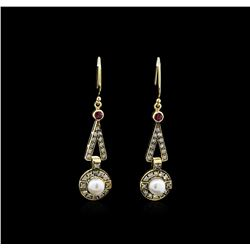 Pearl, Ruby and Diamond Earrings - 18KT Yellow Gold