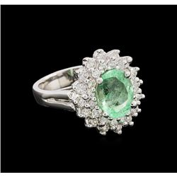 2.26 ctw Emerald and Diamond Ring - 14KT White Gold