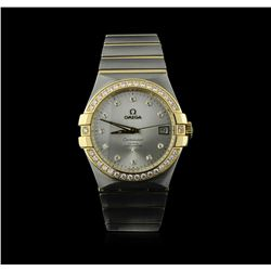 Omega 18KT Two-Tone 1.02 ctw Constellation Mens Watch