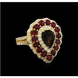 1.00 ctw Green Tourmaline, Ruby and Diamond Ring - 14KT Yellow Gold