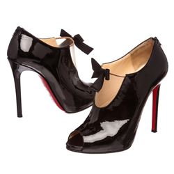Christian Louboutin Black Patent Leather Estanodo 120 Booties Heels 39.5