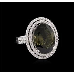 8.15 ctw Green Tourmaline and Diamond Ring - 14KT White Gold