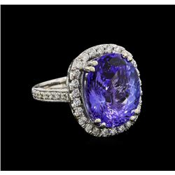 10.35 ctw Tanzanite and Diamond Ring - 14KT White Gold