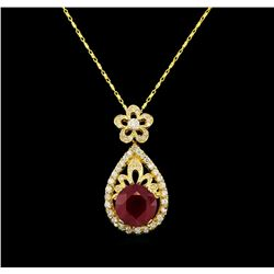 14KT Yellow Gold 5.06 ctw Ruby and Diamond Pendant With Chain