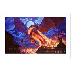 Smaug Destroys Laketown by Greg Hildebrandt