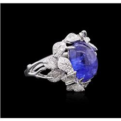18KT White Gold 6.32 ctw Tanzanite and Diamond Ring
