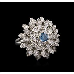 2.28 ctw Fancy Greenish Blue Diamond Ring - 14KT White Gold