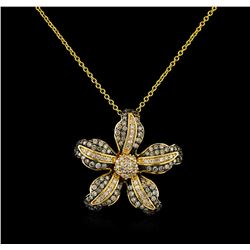 0.73 ctw Diamond Pendant With Chain - 14KT Yellow Gold