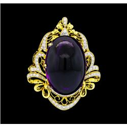 57.28 ctw Amethyst And Diamond Pendant-Pin - 18KT Yellow Gold