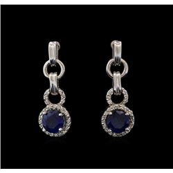 2.00 ctw Sapphire and Diamond Earrings - 14KT White Gold