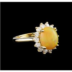 2.74 ctw Opal and Diamond Ring - 14KT Yellow Gold