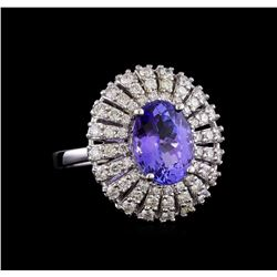 4.21 ctw Tanzanite and Diamond Ring - 14KT White Gold