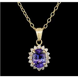 3.13 ctw Tanzanite and Diamond Pendant With Chain - 14KT Yellow Gold
