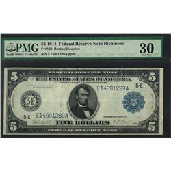 1914 $5 Federal Reserve Note Richmond Fr.862 PMG Very Fine 30