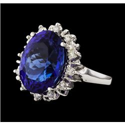 12.11 ctw Tanzanite and Diamond Ring - 14KT White Gold