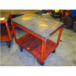 """Heavy Duty Steel Frame Wood Top Rolling Cart, Overall: 38"""" x 26"""" x 34"""""""