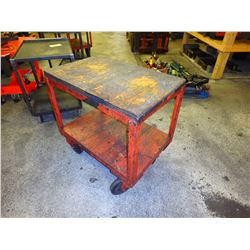 """Heavy Duty Steel Frame Wood Top Rolling Cart, Overall: 37"""" x 25"""" x 36"""""""