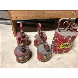 Lot of (5) JustRite Safety Cans