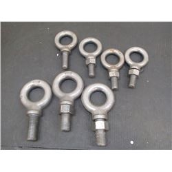 """Lot of Misc Eye Bolts, (4) 3/4"""", (3) 1"""""""