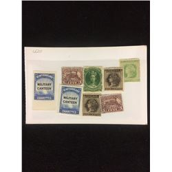 CANADIAN STAMPS LOT (NEWFOUNDLAND) MILITARY CANTEEN, ONE, SIX & EIGHT CENTS