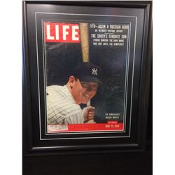 "1956 LIFE MAGAZINE MICKEY MANTLE COVER (16"" X 20"" FRAMED)"