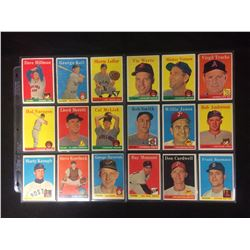 1958 TOPPS BASEBALL TRADING CARDS LOT
