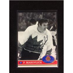 PETER MAHOVOLICH AUTOGRAPHED HOCKEY CARD