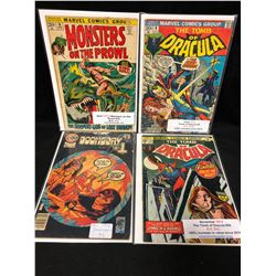 1970'S COMIC BOOK LOT (THE TOMB OF DRACULA #9, 26, DOOMSDAY #5, MONSTERS ON THE PROWL #16)