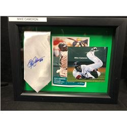MIKE CAMERON SIGNED NECK TIE IN SHADOW BOX DISPLAY