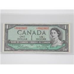 1954 Bank of Canada * Replacement One Dollar Note