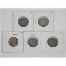 5x Canada 25 Cent Coins: 1917, 1918, 1919, 1920, 1